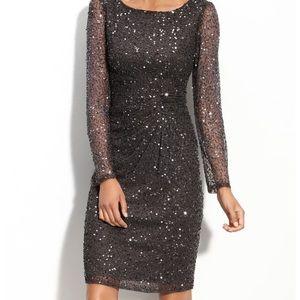 Patra beaded dress in steel gray